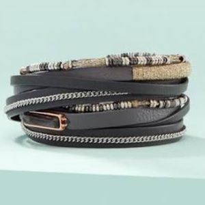 Stella & Dot Multi-Strand Leather Wrap Bracelet